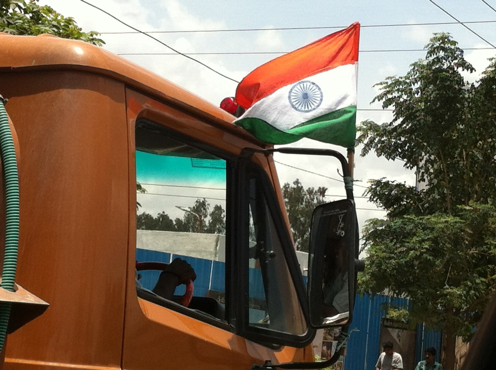 Indian flag on truck