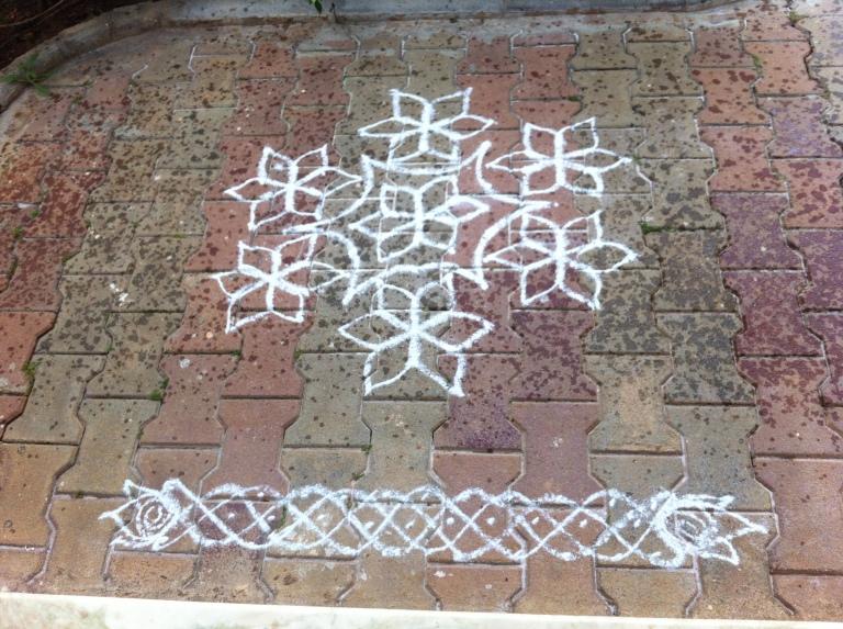 White chalk Rangoli