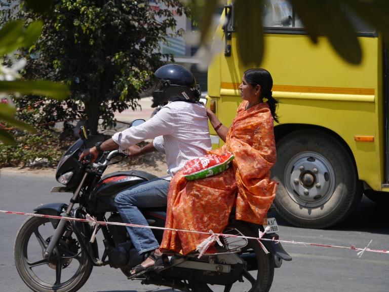 motorbike orange sari