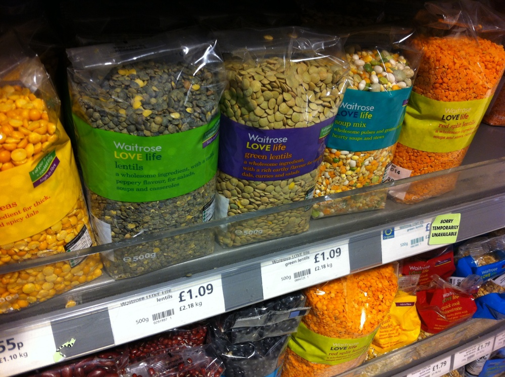 Waitrose lentils one shelf