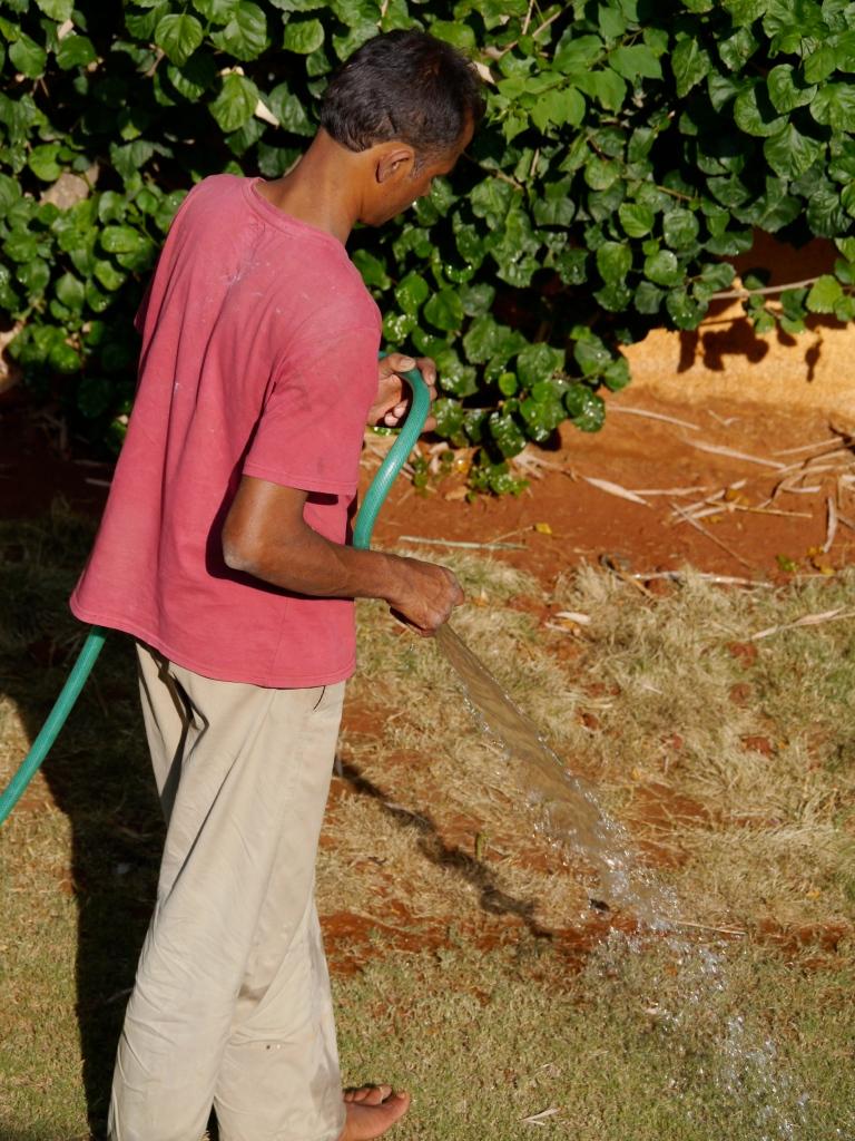 gardener with hose