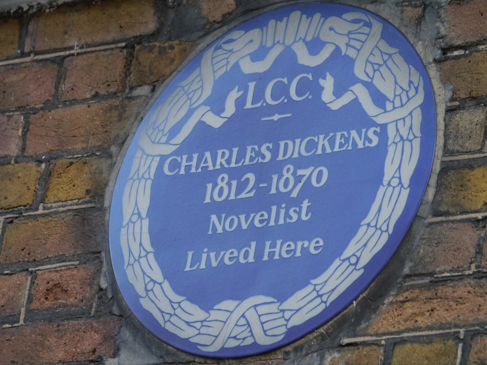 London County Council blue plaque for Charles Dickens's home on Doughty Street