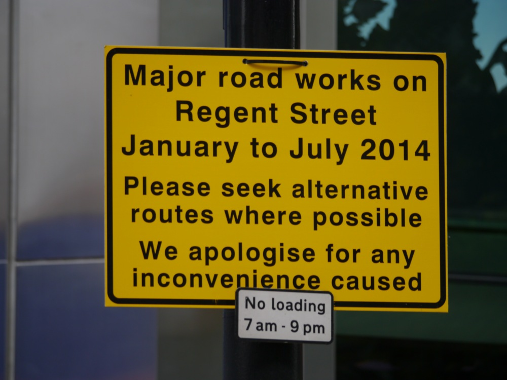 Regent's Street sign for roadworks