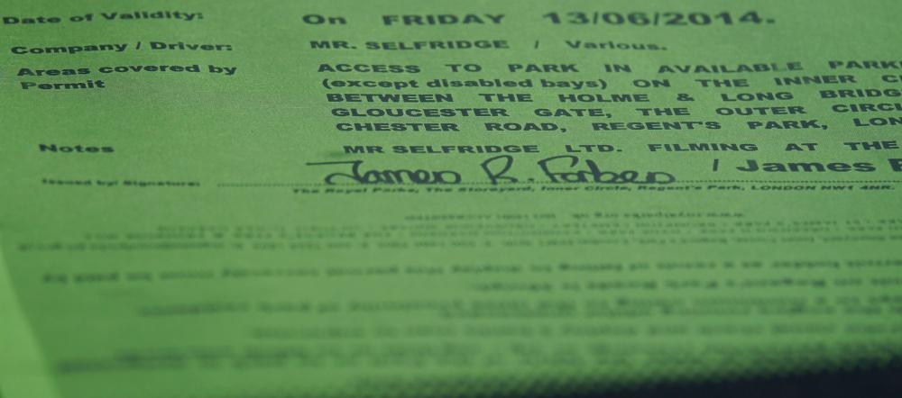 Mr Selfridge parking permit