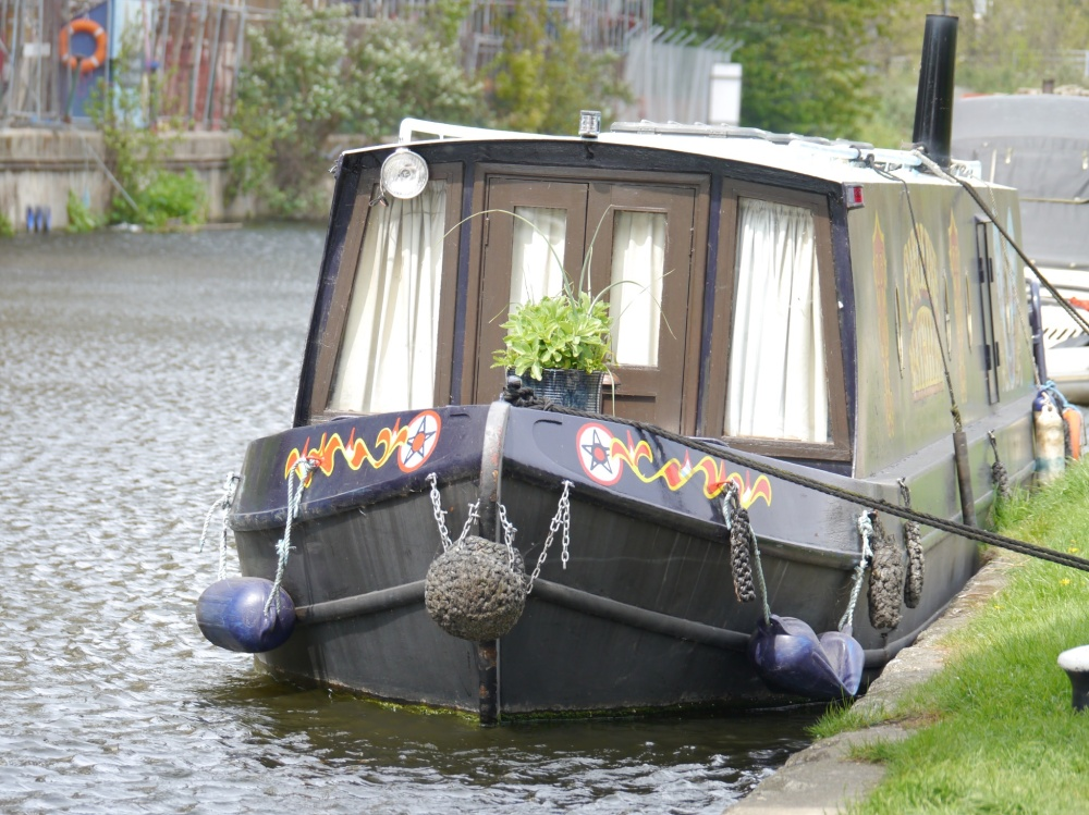 Canal boat moored