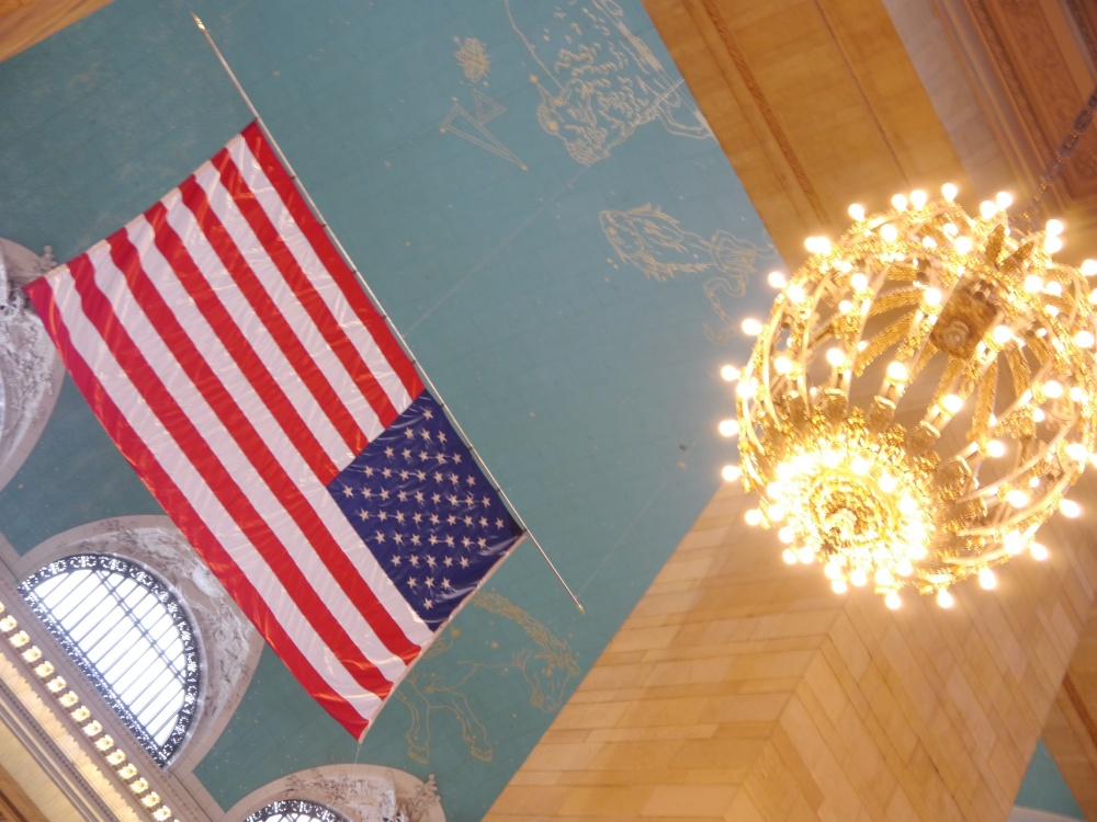 Grand Central Terminal ceiling and flag