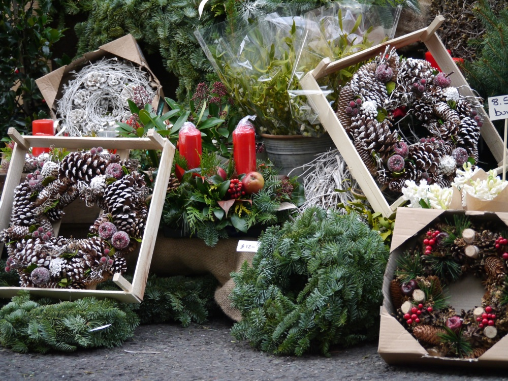 Borough Market stall wreaths and candles