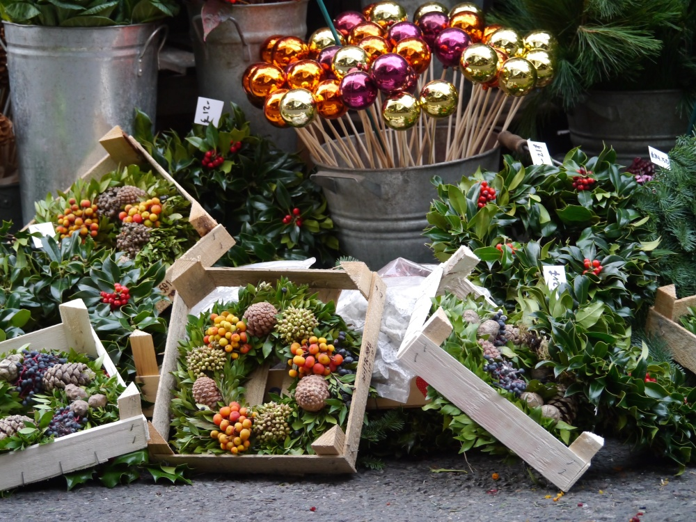 Borough Market stall wreaths and sticks
