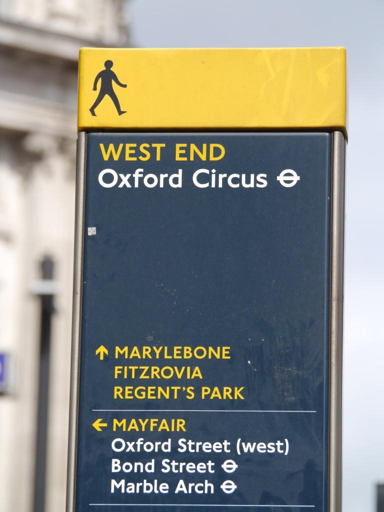 Oxford Circus legible London sign